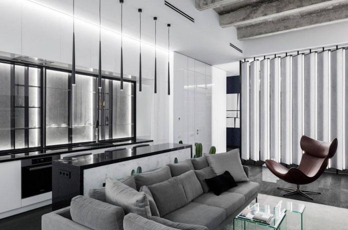 intérieur de studio noir et blanc