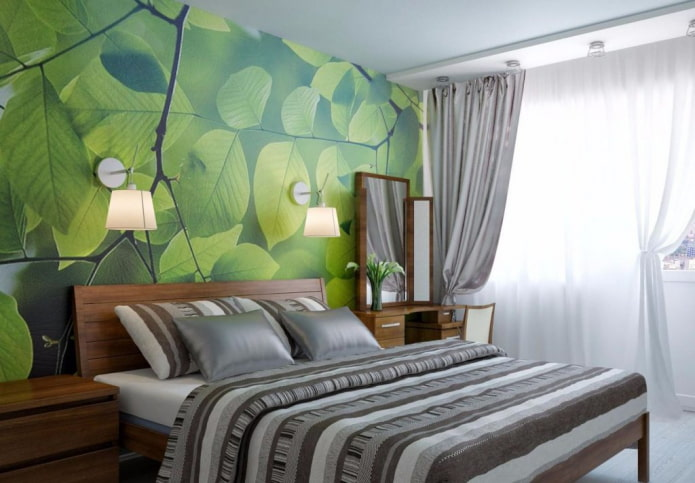 intérieur de chambre gris-vert