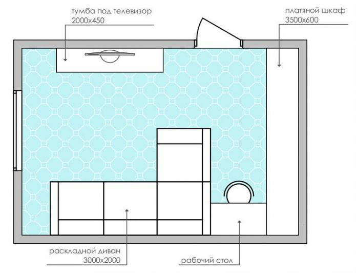 schéma d'un salon rectangulaire