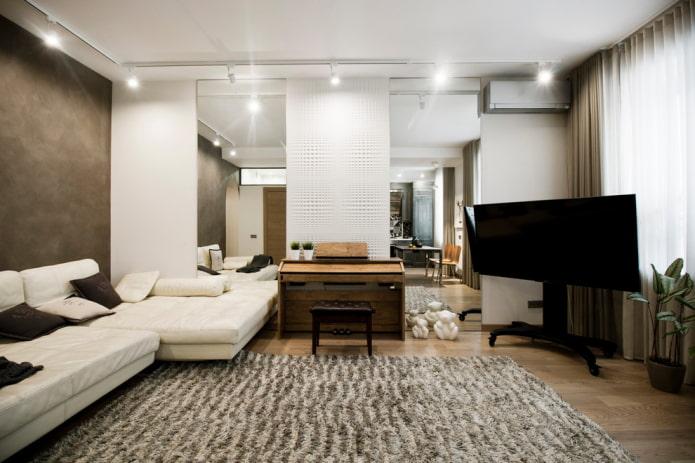 intérieur d'une salle carrée 18 m²