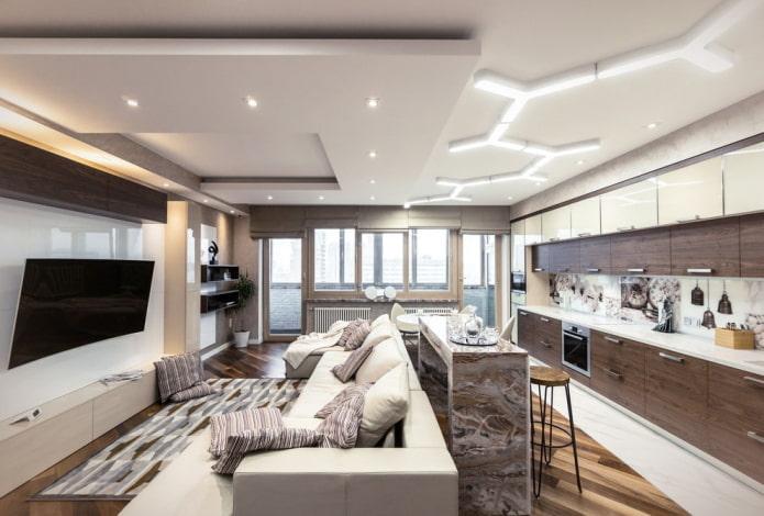 zonage avec des structures à plusieurs niveaux à l'intérieur de la cuisine-salon