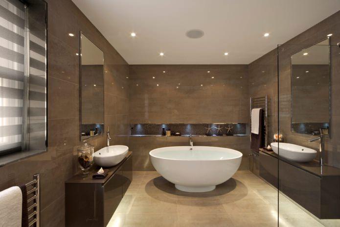 Intérieur de la salle de bain en marron