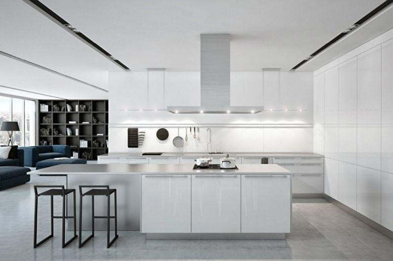 Cuisine blanche high-tech - Design d'intérieur