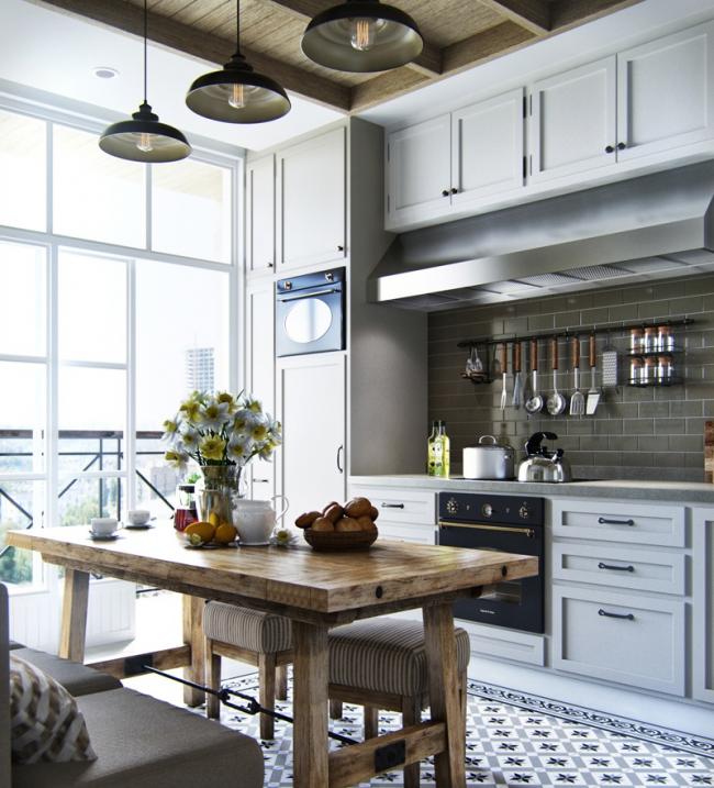 Style campagnard élégant avec fenêtres panoramiques