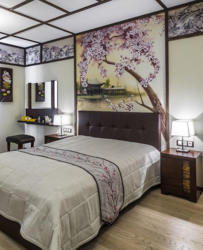 chambre à coucher avec décoration japonaise