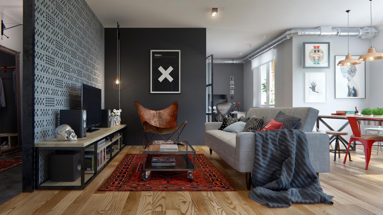Intérieur moderne avec stratifié clair dans un studio spacieux