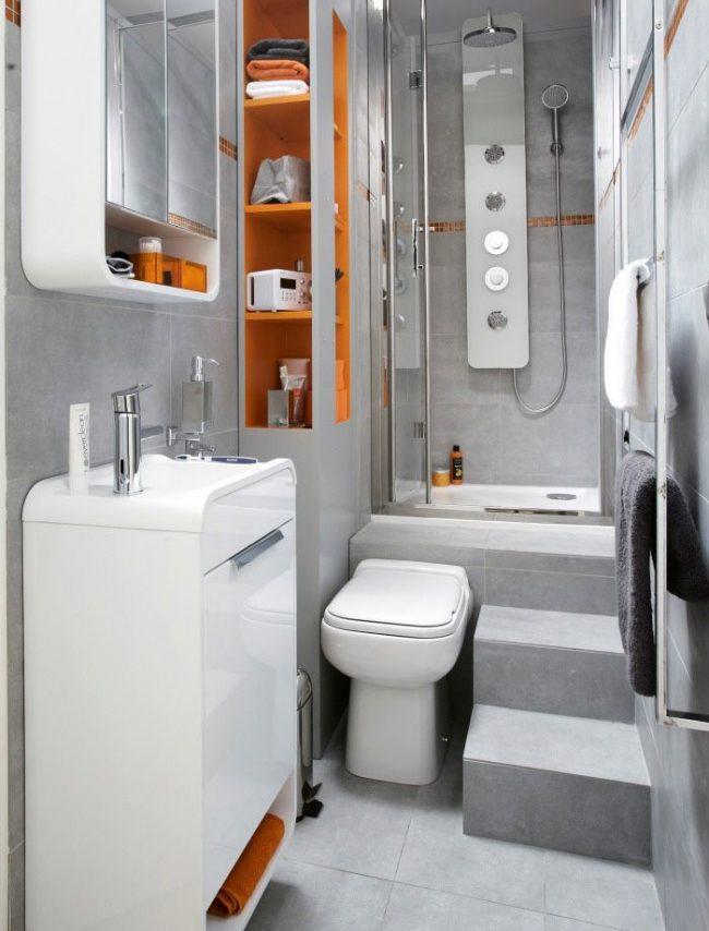 Conception de salle de bain intéressante 3 m².  m. dans un style high-tech