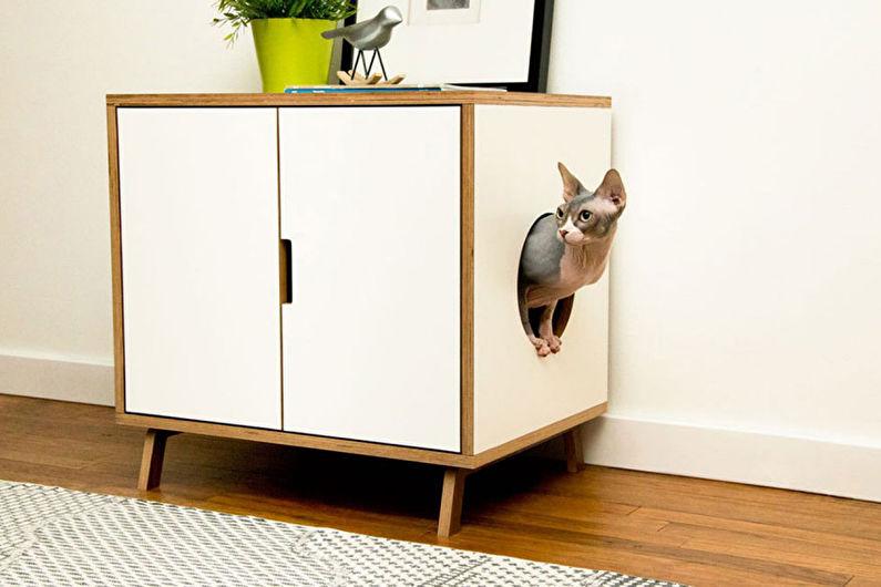 Maison de chat intégrée dans les meubles