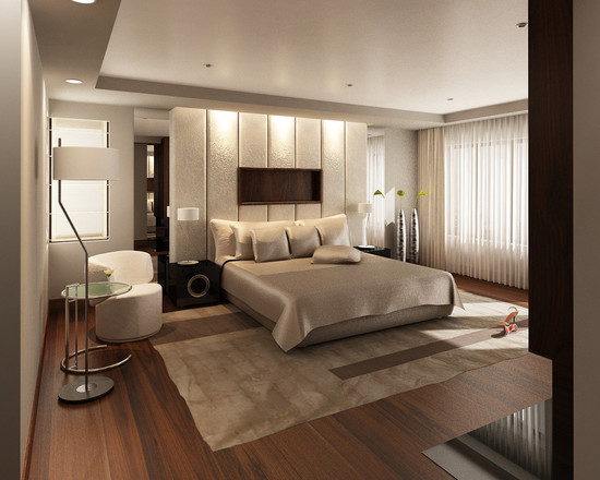 Le plafond tendu beige mat complète l'intérieur élégant et sophistiqué de la pièce