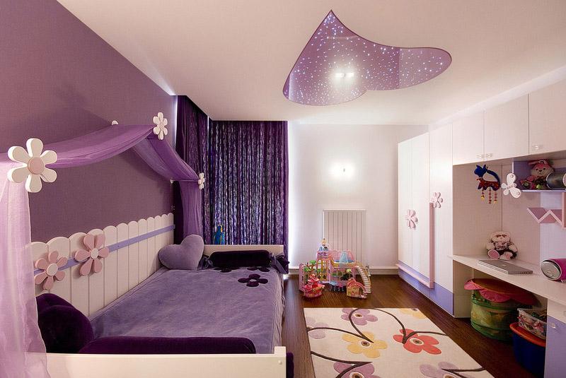 Coeur brillant de couleur lilas douce - une touche lumineuse et originale dans la chambre des enfants pour une fille