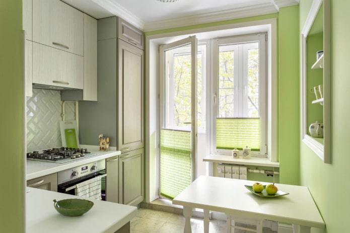 cuisine 7 m² dans les tons verts