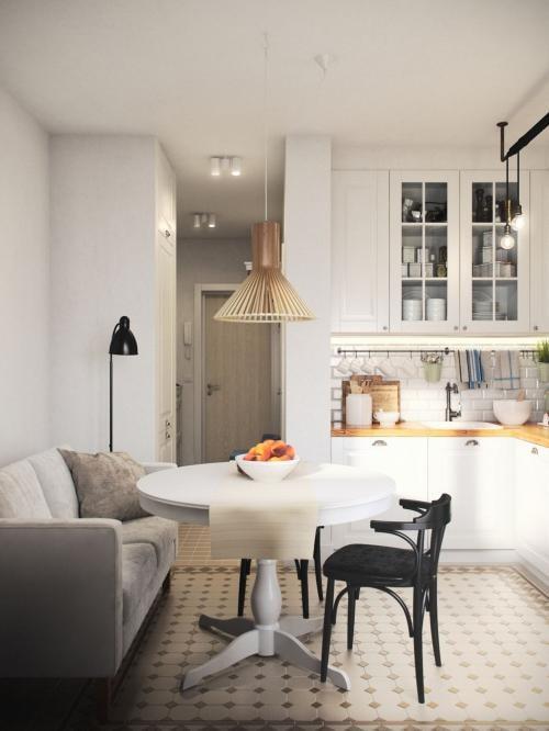 canapé compact dans la cuisine