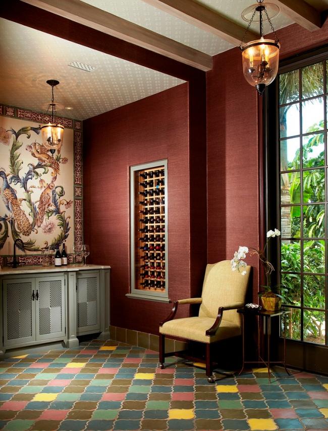 Papier peint textile dans le salon oriental