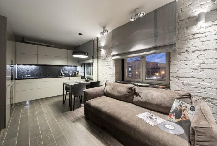 cuisine-salon rectangulaire d'une superficie de 17 carrés