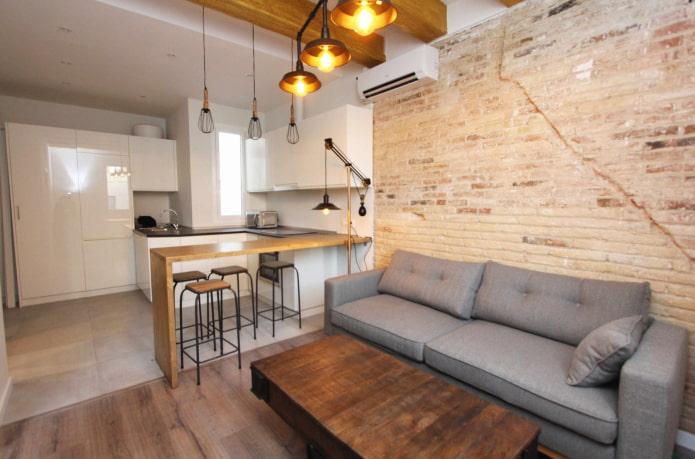 zonage de la cuisine-salon d'une superficie de 17 carrés