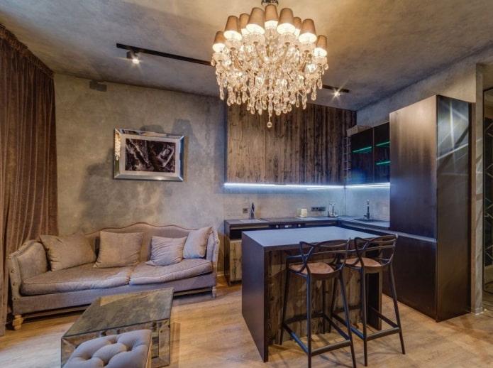 cuisine-séjour carré de 17 m².
