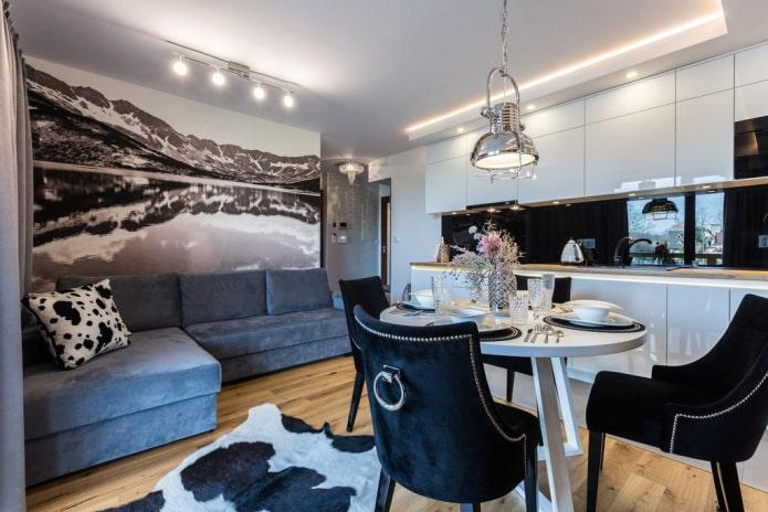 disposition des meubles dans la cuisine-salon 17 places