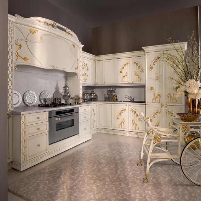 set de cuisine avec motif floral
