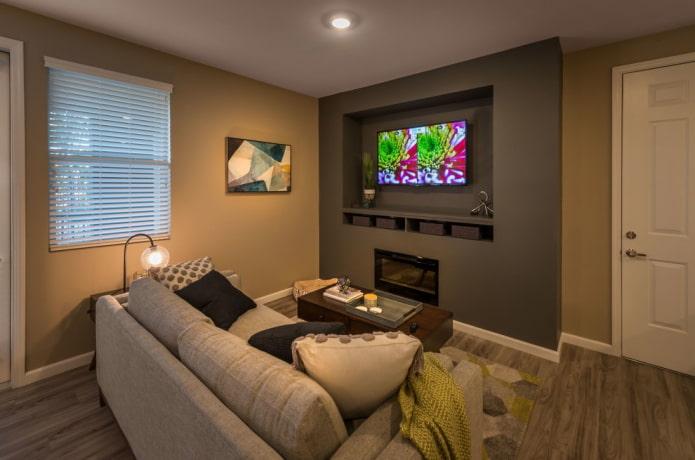 TV dans une niche dans le mur à l'intérieur