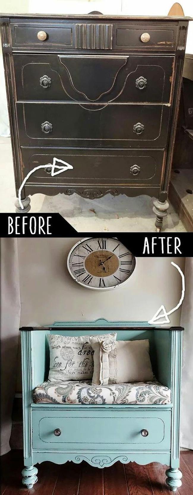 Un exemple de transformation d'une vieille commode en un élégant banc à chaussures vintage avec un siège confortable dans le couloir