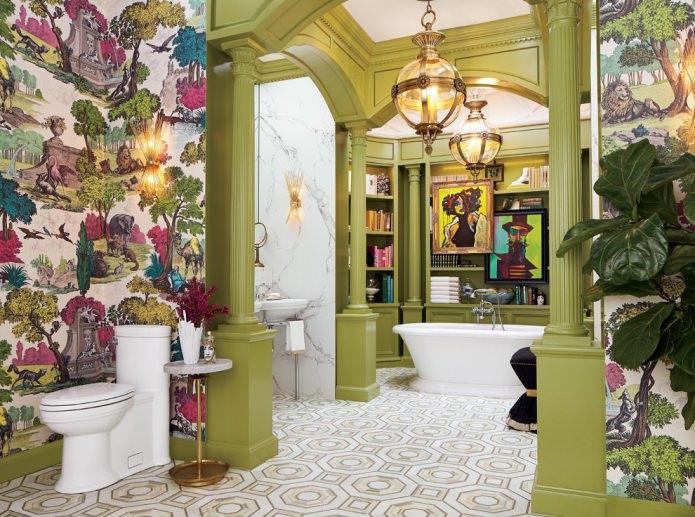 salle de bain dans les tons verts
