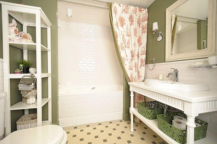salle de bain blanc-olive