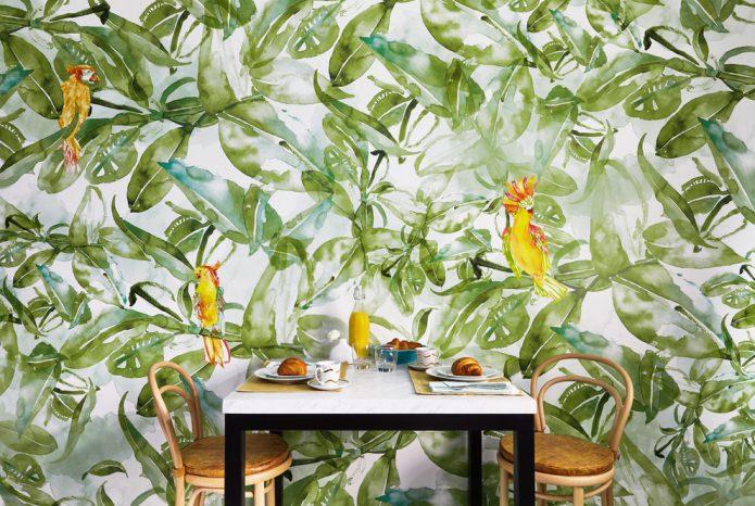 papier peint avec de la verdure et des oiseaux