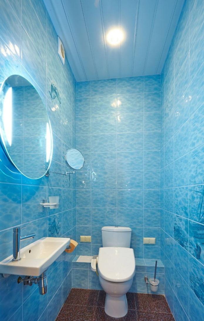 panneaux bleus pour la salle de bain