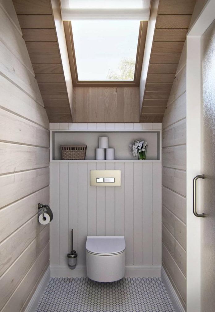 toilettes avec fenêtre de toit