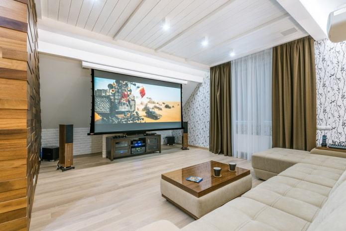 plafond en bois blanc dans le salon