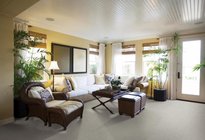 Panneaux de plafond en PVC dans le salon