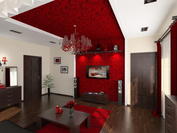 plafond en placoplâtre avec motifs dans le hall