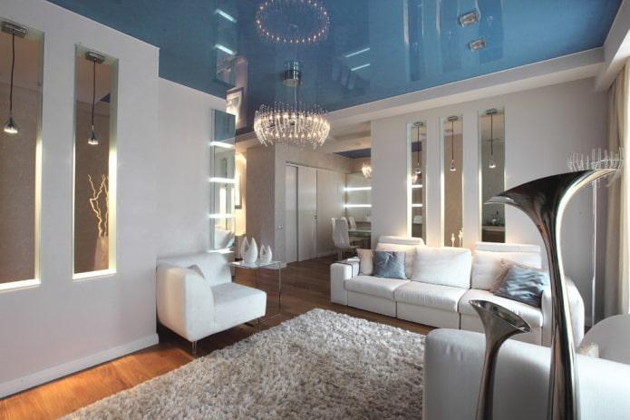 toile stretch bleue dans le salon
