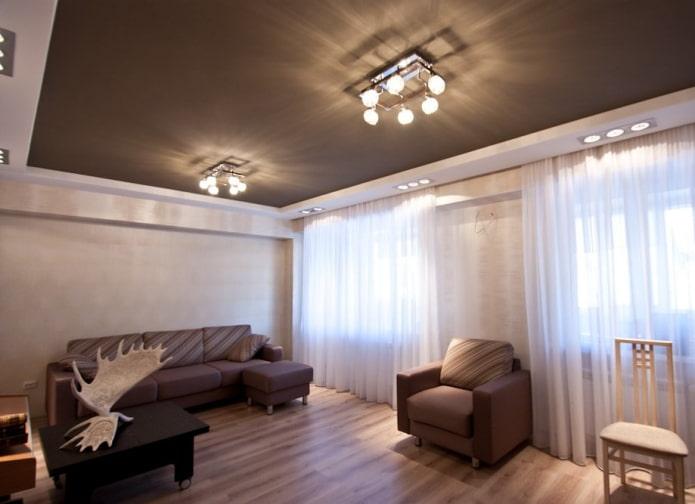 plafond marron dans le salon