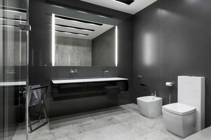 aménagement de salle de bain dans les tons de gris