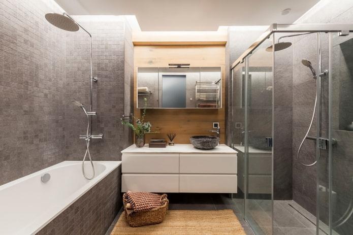 finition de la salle de bain dans des tons gris