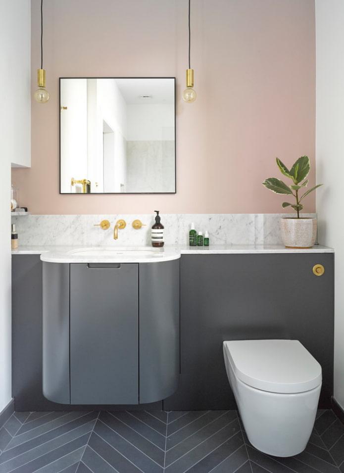 intérieur de la salle de bain dans les tons gris-rose