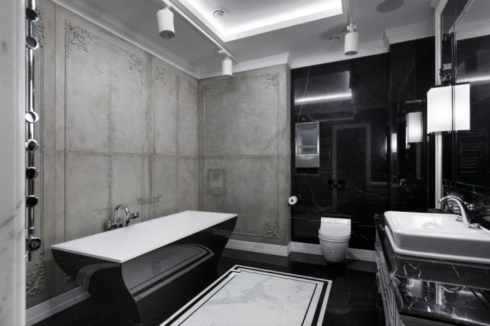 intérieur de la salle de bain dans les tons noir et gris