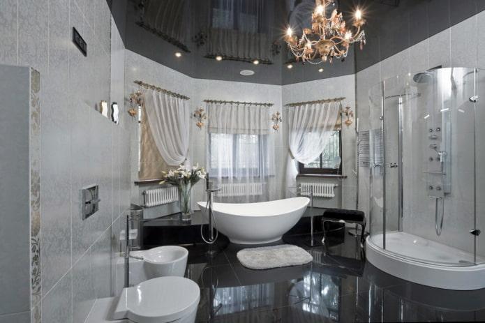 salle de bain noir et gris