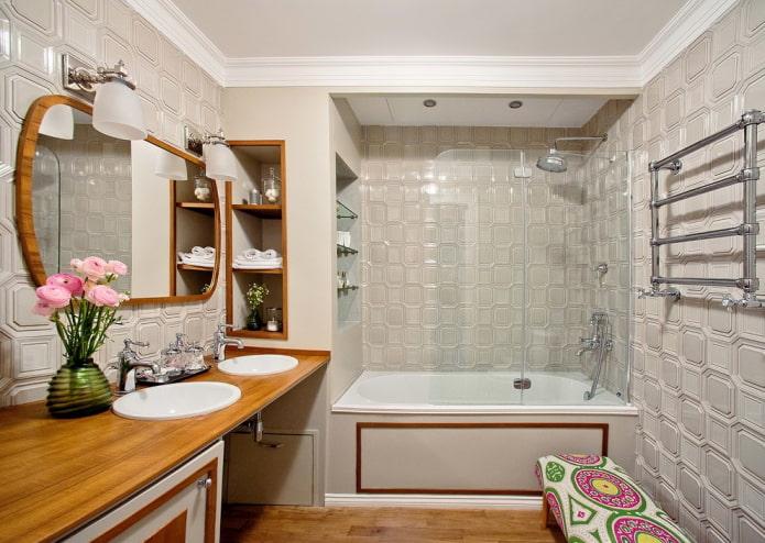 Salle de bain gris-brun