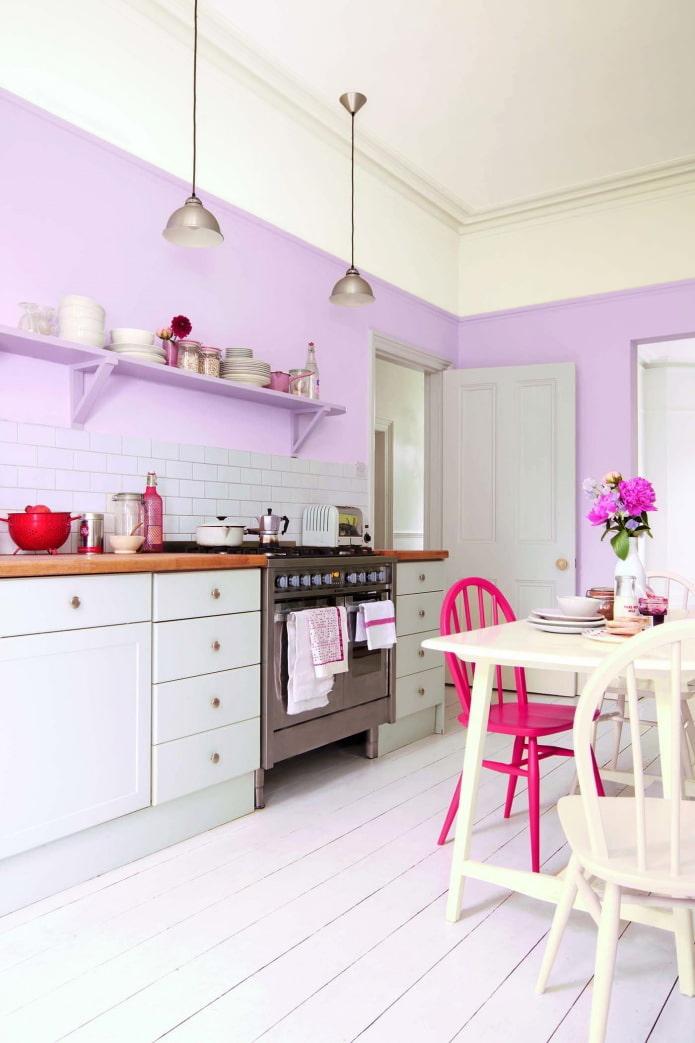 conception de cuisine lilas
