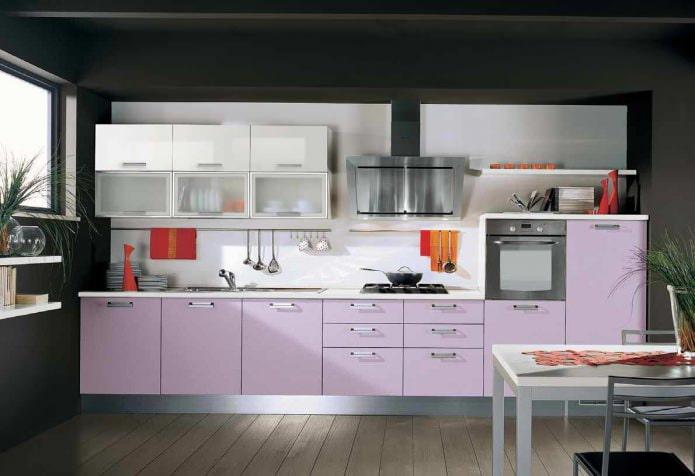 Intérieur de cuisine lilas