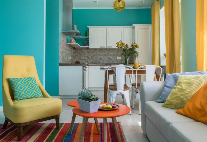 chambre jaune-turquoise