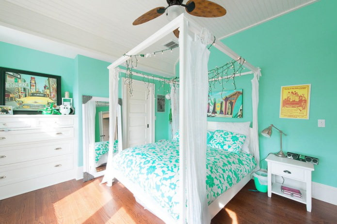 chambre blanche et turquoise
