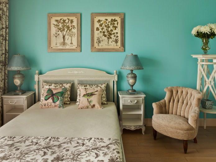 chambre beige et turquoise