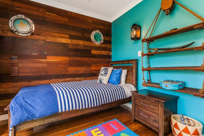 chambre marron-turquoise