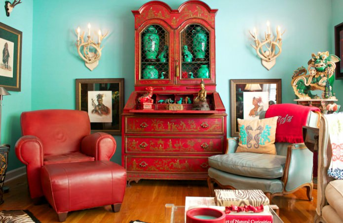 chambre rouge et turquoise