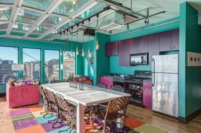 cuisine violet turquoise