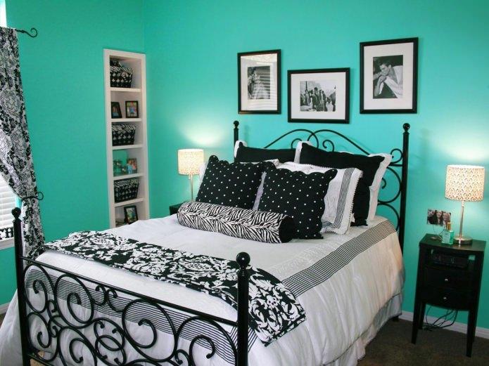 chambre noir et turquoise