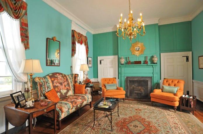 salon orange et turquoise